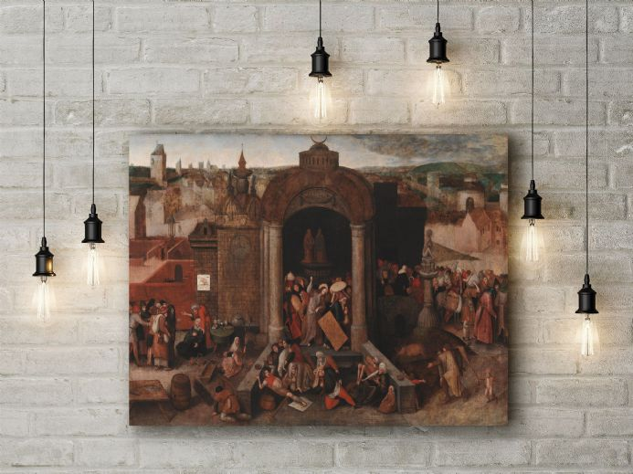 Pieter Bruegel the Elder: Christ Driving the Traders from the Temple. Fine Art Canvas.